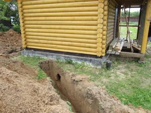 Ввод питьевого трубопровода в баню