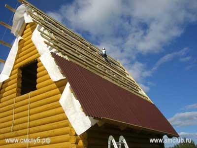 Разметка на крыше перед монтажем ондулина