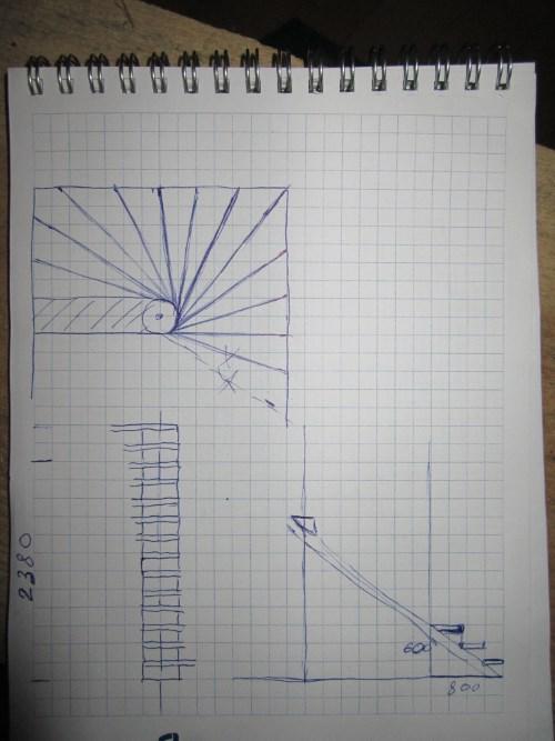 Простой чертеж винтовой лестницы